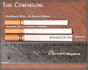 EXP2000 Simron 2010 RYO Magazine Comparison of Tube sizes slim tubes (80mm-84mm)  to regular tubes